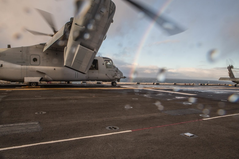 A U.S. Marine Corps V-22 Osprey prepare for takeoff aboard USS Iwo Jima (LHD 7) Oct 17, in preparation for Exercise Trident Juncture 2018. Trident Juncture is a planned exercise to enhance U.S. and NATO partners' and Allies' abilities to work together collectively and conduct military operations under challenging conditions. (U.S. Marine Corps photo by Lance Cpl. Brennon A. Taylor)
