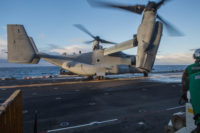 A U.S. Marine Corps V-22 Osprey prepare for takeoff aboard USS Iwo Jima (LHD 7) Oct 17, in preparation of exercise Trident Juncture 2018. Trident Juncture is a planned exercise to enhance U.S. and NATO Ally abilities to work together collectively and conduct military operations under challenging conditions. (U.S. Marine Corps photo by Lance Cpl. Brennon A. Taylor)