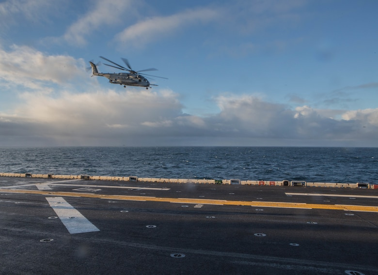 A U.S. Marine Corps CH-53 Sea Stallion flies towards Reykjavík, Iceland Oct 17, in preparation of Exercise Trident Juncture 2018. Trident Juncture is a planned exercise to enhance U.S. and NATO partners' and Allies' abilities to work together collectively and conduct military operations under challenging conditions. (U.S. Marine Corps photo by Lance Cpl. Brennon A. Taylor)