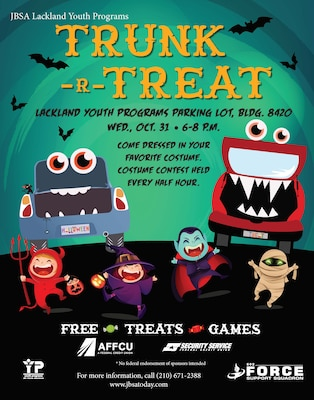 Lackland Youth Programs will host a Trunk-r-Treat event for all ages on Wednesday, Oct. 31 from 6-8 p.m.