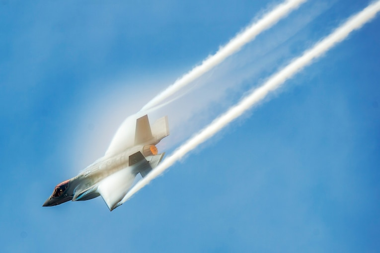 An aircraft performs aerial maneuvers.