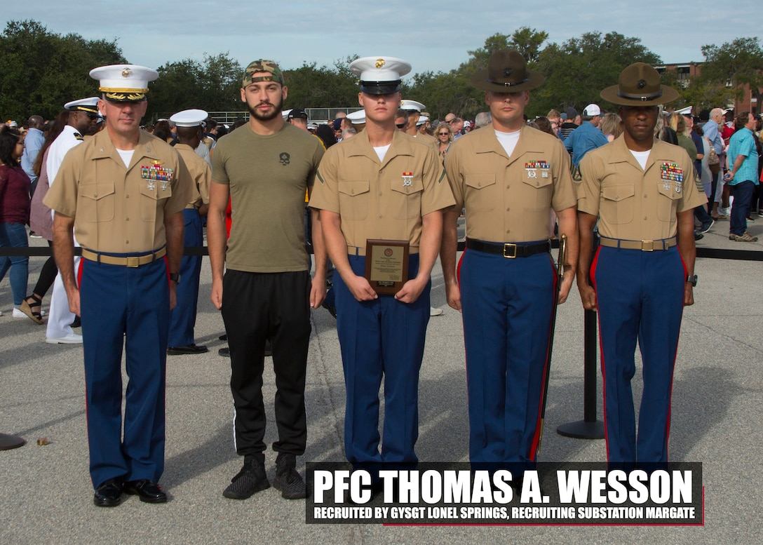 Pfc. Thomas A. Wesson completed Marine Corps recruit training as the platoon honor graduate of Platoon 2081, Company H, 2nd Battalion, Recruit Training Regiment, aboard Marine Corps Recruit Depot Parris Island, South Carolina, Oct. 19, 2018. Wesson, a graduate of Cardinal Gibbon High School in Fort Lauderdale, Florida, was recruited by Gunnery Sgt. Lonel D. Springs from Recruiting Substation Margate. (U.S. Marine Corps photo by Cpl. Jorge A. Rosales)