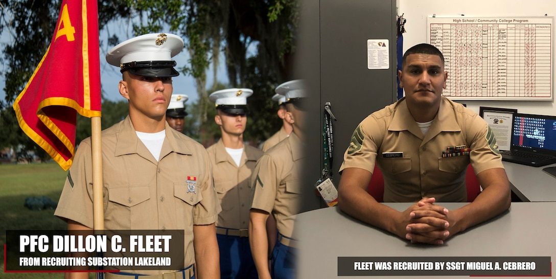 Pfc. Dillon C. Fleet completed Marine Corps recruit training as the platoon honor graduate of Platoon 2084, Company H, 2nd Battalion, Recruit Training Regiment, aboard Marine Corps Recruit Depot Parris Island, South Carolina, Oct. 19, 2018. Fleet, a graduate of George Jenkins High School in Lakeland Highlands, Florida, was recruited by Staff Sgt. Miguel A. Cebrero from Recruiting Substation Lakeland. (U.S. Marine Corps photo by Cpl. Jorge A. Rosales)