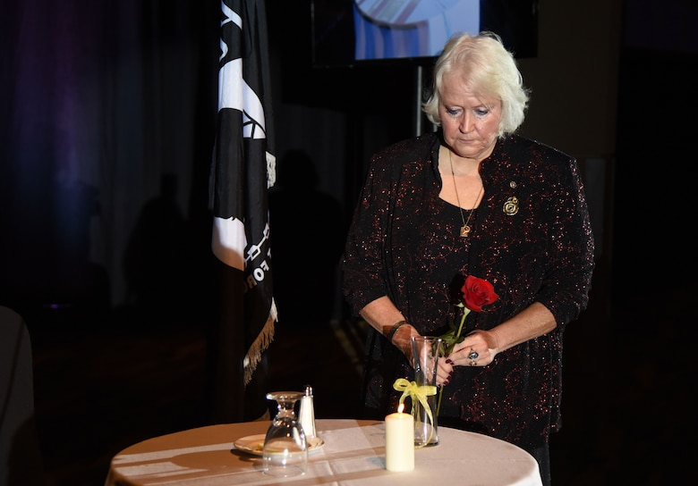 Diane Moore, daughter of U.S. Air Force Chief Master Sgt. Thomas Moore, POW/MIA Vietnam, during a remembrance ceremony at the 40th Annual Salute to the Military inside the Mississippi Coast Convention Center in Biloxi, Mississippi, Oct. 16, 2018. The Salute to the Military event recognized the men and women who serve in the military along the Gulf Coast. (U.S. Air Force photo by Kemberly Groue)