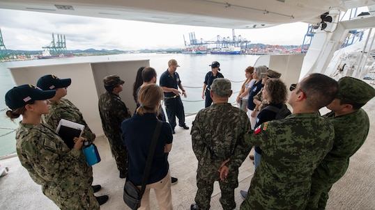 A U.S. Navy Sailor  disembarkation procedures during boat familiarization training for partner nation and non-governmental organization personnel aboard the hospital ship USNS Comfort.