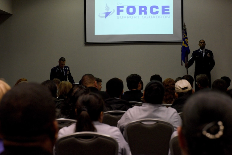 U.S. Air Force Col. Jason Beck, 17th Mission Support Group commander, speaks during the 17th Force Support Squadron assumption of leadership at the Event Center on Goodfellow Air Force Base, Texas, October 19, 2018. Beck welcomed 17th FSS incoming Director, William Dowell.  (U.S. Air Force photo by Senior Airman Randall Moose/Released)