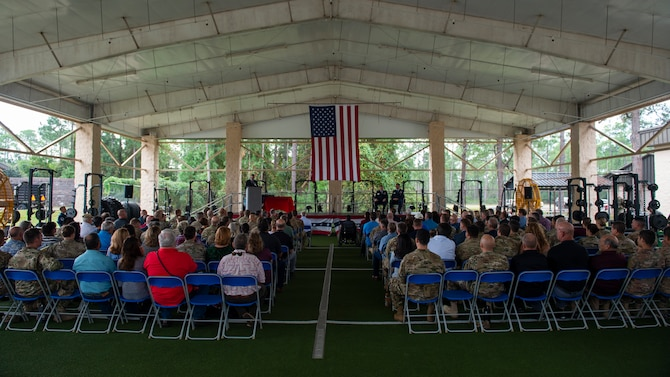 Airmen, family and friends attend Chief Master Sgt. Michael West's retirement ceremony at Hurlburt Field, Florida, Oct. 19, 2018.