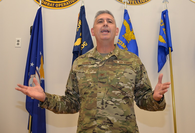 Col. Scott Harron, 193rd Air Operations Group commander, speaks to an audience at the AOG in State College, Pa., during his assumption of command ceremony Oct. 18, 2018. Before taking on the role as AOG commander, Harron served as the 25th Air Force Inspector General, and as Inspection Team Chief at Air Combat Command headquarters. He also served as commander of the 152nd Air Intelligence Squadron at Hancock Field Air National Guard Base, Mattydale, N.Y. Harron spent 16 years as an enlisted troop before commissioning as an Air Force intelligence officer in September 2000. (U.S. Air National Guard photo by 1st Lt. Susan Penning/Released)