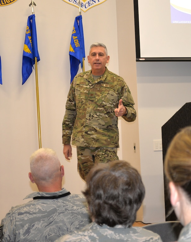 Col. Scott Harron, 193rd Air Operations Group commander, speaks to Airmen at the AOG during an all-call at the State College, Pa., unit Oct. 19, 2018. Prior to taking on the role as AOG commander Oct. 18, 2018, Harron served as the 25th Air Force Inspector General, and as Inspection Team Chief at Air Combat Command headquarters. He also served as commander of the 152nd Air Intelligence Squadron at Hancock Field Air National Guard Base, Mattydale, N.Y. Harron spent 16 years as an enlisted troop before commissioning as an Air Force intelligence officer in September 2000. (U.S. Air National Guard photo by 1st Lt. Susan Penning/Released)