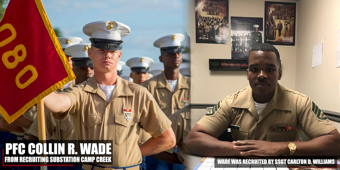 Pfc. Collin R. Wade completed Marine Corps recruit training as the platoon honor graduate of Platoon 2080, Company H, 2nd Battalion, Recruit Training Regiment, aboard Marine Corps Recruit Depot Parris Island, South Carolina, Oct. 19, 2018. Wade, a graduate of Newnan High School in Newnan, Georgia, was recruited by Staff Sgt. Carlton D. Williams from Recruiting Substation Camp Creek. (U.S. Marine Corps photo by Cpl. Jorge A. Rosales)