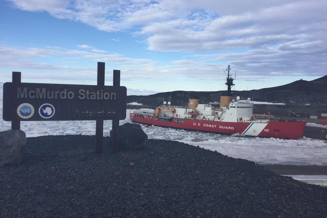 Scenic view of McMurdo Sound, Coast Guard ship.