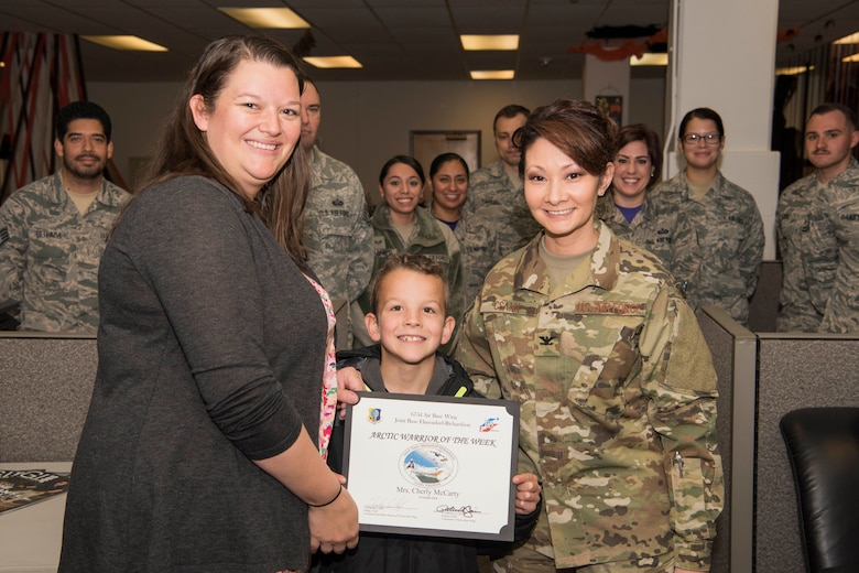 Cherly McCarty, a 673d Force Support Squadron human resources assistant, is recognized as the Arctic Warrior of the Week at Joint Base Elmendorf-Richardson, Alaska, Oct. 19, 2018. The Arctic Warrior of the Week is an award highlighting JBER's top performing Airmen.