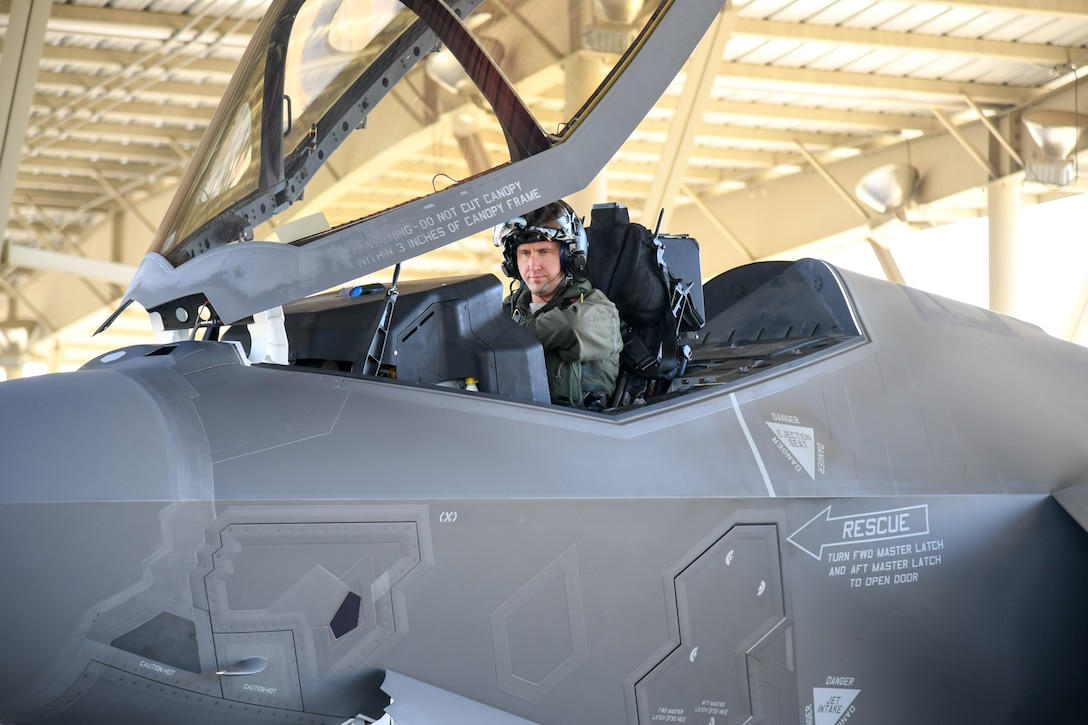 Maj. Daniel Toftness, a reservist in the 419th Fighter Wing, conducts a pre-flight check before a sortie in an F-35A Lightning II Oct. 18, 2018, at Hill Air Force Base, Utah. The flight marked the 10,000th sortie with the aircraft at Hill since the first operational F-35s arrived in September 2015. (U.S. Air Force photo by Cynthia Griggs)