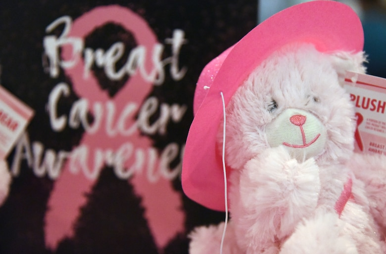 Pink decorations are on display during the 7th Annual Mammothon Cancer Screening and Preventative Health Fair inside the Don Wylie Auditorium on Keesler Air Force Base, Mississippi, Oct. 19, 2018. The 81st Medical Group hosted the walk-in event which included screenings for multiple types of cancer and chronic diseases in honor of Breast Cancer Awareness Month. (U.S. Air Force photo by Kemberly Groue)
