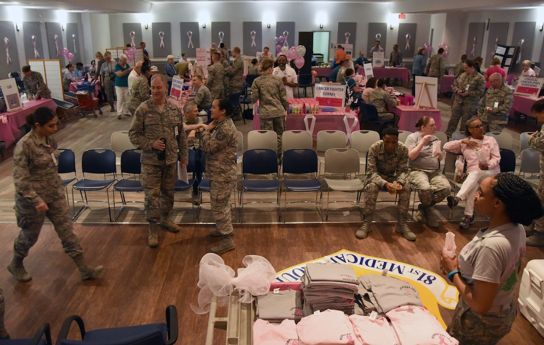 The 81st Medical Group hosts the 7th Annual Mammothon Cancer Screening and Preventative Health Fair inside the Don Wylie Auditorium on Keesler Air Force Base, Mississippi, Oct. 19, 2018. The 81st Medical Group hosted the walk-in event which included screenings for multiple types of cancer and chronic diseases in honor of Breast Cancer Awareness Month. (U.S. Air Force photo by Kemberly Groue)