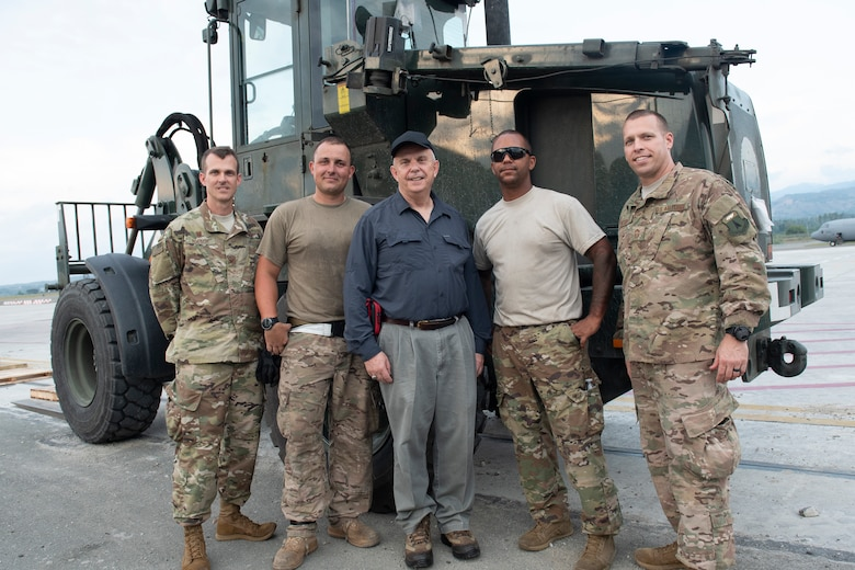 U.S. Ambassador to Indonesia, Joseph R. Donovan Jr. poses with Col. Daniel Roesch, 36th Contingency Response Group commander, Tech. Sgts. Edward Feilen, Christopher Johnson, both assigned to the 36th Mobility Response Squadron, and Chief Master Sgt. William Hebb, 36th CRG superintendent, in Palu, Indonesia Oct. 15, 2018. The purpose of Donovan's visit was to thank 36th CRG Airmen and conduct site visits of humanitarian operations in Palu, Halim and Balikpapan. (U.S. Air Force photo by Master Sgt. JT May III)