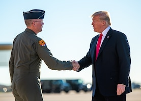 President Donald J. Trump, is greeted by Brig Gen. Todd Canterbury, 56th Fighter Wing commander at Luke Air Force Base, Ariz., Oct. 19, 2018. Additionally, Trump praised the F-35's capabilities and the progression of its pilot training program. (U.S. Air Force photo by Senior Airman Alexander Cook)