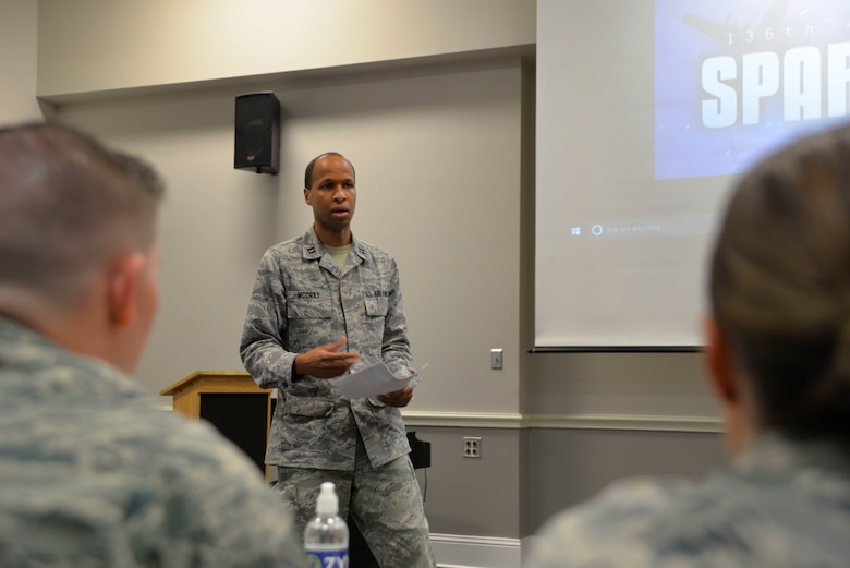 U.S. Air Force Capt. Jeremy McCray, 136th Medical Group Medical Service Corps officer, presents his idea for a secure, digital faxing system to a panel of 136th Airlift Wing Airmen during the wing's Spark Tank competition Oct. 20, 2018.