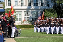 Marines with the Marine Barracks Washington D.C. marching companies conduct pass in review during a parade for retired U.S. Marine Corps Sgt. Maj. John L. Canley, the 298th Marine Medal of Honor recipient at the Barracks, Oct. 19, 2017.
