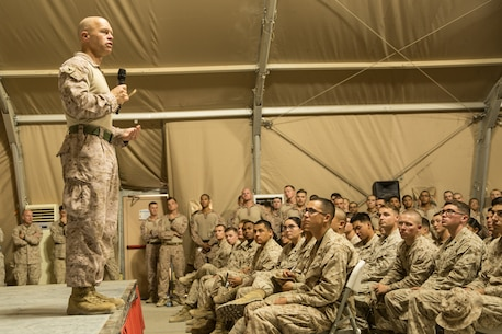 UNDISCLOSED LOCATION, SOUTHWEST ASIA - U.S. Marine Corps Col. George Schreffler, the commanding officer of Special Purpose Marine Air-Ground Task Force, Crisis Response-Central Command, speaks to Marines and Sailors during a town hall meeting October 19, 2018. During the town hall, the SPMAGTF-CR-CC Commanding Officer and Sergeant Major briefed Marines on operations in the region. (U.S. Marine Corps photo by Cpl. Teagan Fredericks)