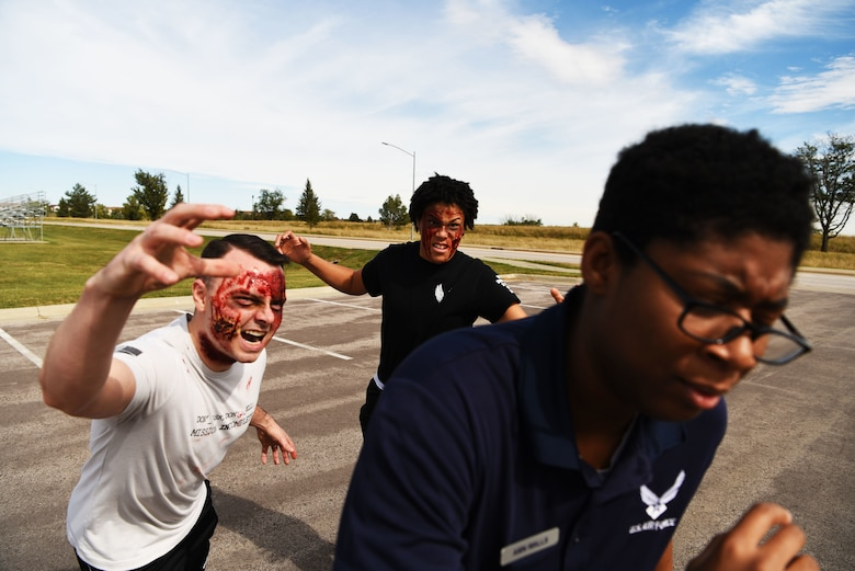 Raider Airmen can't escape the Halloween fun about to come alive on Ellsworth Air Force Base, S.D. The 28th Force Support Squadron is hosting a free Zombie 5k where participants may be spooked by zombies and get a workout at the same time. (U.S. Air Force photo by Airman 1st Class Thomas Karol)