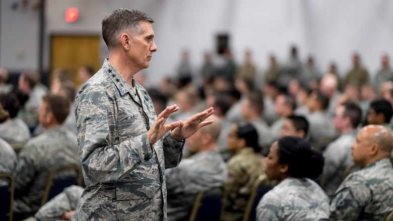 Gen. Timothy Ray, Air Force Global Strike Command commander, addresses a question posed by an Airman during a commander's call at Barksdale Air Force Base, Louisiana, Oct. 17, 2018.  Ray spoke about the expectations for the command culture and climate. He also covered his focus areas of exhibiting excellence as professional warfighters, building integrated teams, and developing people both personally and professionally to produce trained and ready Airmen