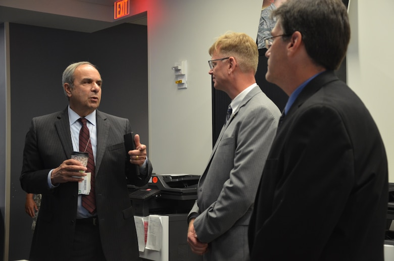 Dr. Richard J. Joseph (left), Chief Scientist of the Air Force, meets with Dr. Glenn E. Sjoden (center), chief scientist of the Air Force Technical Applications Center, and Dr. William Junek, AFTAC's senior scientist, during Joseph's visit to the nuclear treaty monitoring center at Patrick AFB, Fla.  Joseph came to AFTAC to attend its annual Research and Development Roadmap Forum and took the opportunity to tour the facility and meet the Airmen who perform the mission.  (U.S. Air Force photo by Susan A. Romano)