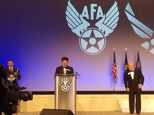 SAB Chair, Dr. James Chow, accepts the Air Force Association's Lifetime Achievement Award on behalf of the SAB in honor of their 75th anniversary.