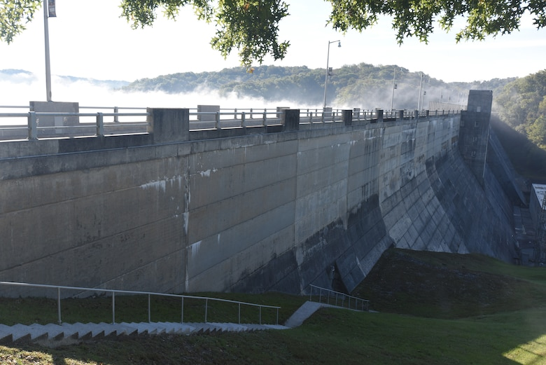 A heavy fog lifts over Dale Hollow Dam and Reservoir Oct. 19, 2018 during the 75th Anniversary Commemoration at the dam's overlook in Celina, Tenn. (USACE Photo by Lee Roberts)
