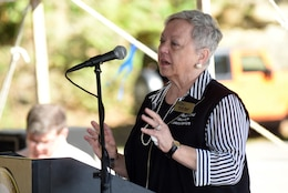 Ruth Dyal, Upper Cumberland Tourism Association executive director, speaks about tourism and benefits of the lake during the 75th Anniversary Commemoration of Dale Hollow Dam and Reservoir in Celina, Tenn., Oct. 19, 2018. (USACE photo by Lee Roberts)