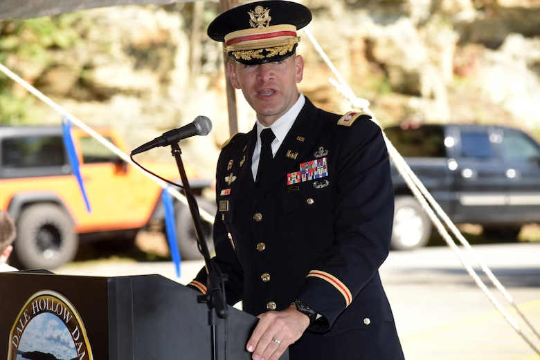 Lt. Col. Cullen Jones, U.S. Army Corps of Engineers Nashville District commander, recognizes the history and benefits of the dam, and thanks Corps employees and volunteers who have worked hard since 1943 to care for the Dale Hollow project while speaking during the 75th Anniversary Commemoration of Dale Hollow Dam and Reservoir Oct. 19, 2018. (USACE photo by Lee Roberts)