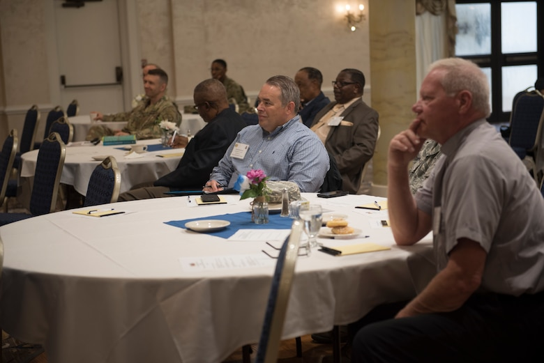 Ministers, pastors and deacons from the Hampton Roads community gather with military chaplains for a Shared Ministry Forum at Joint Base Langley-Eustis, Virginia, Oct. 11, 2018.