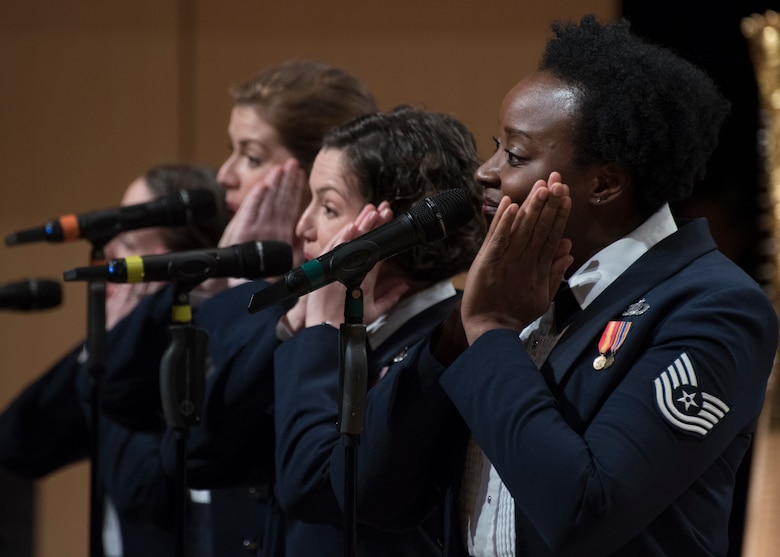 U.S. Air Force Band's Singing Sergeants vocalists perform at the V. Sue Cleveland High Concert Hall in Rio Rancho, N.M., Oct. 17, 2018. The band aims to inspire patriotism and service as well as honor veterans. (U.S. Air Force photo by Senior Airman Abby L. Richardson)