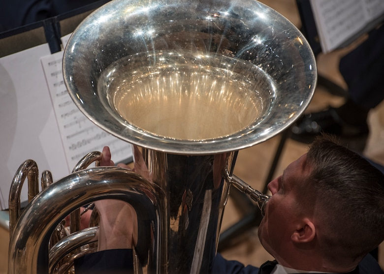 Tech. Sgt. Daniel Walley, U.S. Air Force musician, plays the tuba at V. Sue Cleveland High Concert Hall in Rio Rancho, N.M., Oct. 17, 2018. The band performed in locations across N.M. and Texas to inspire and engage the local communities. (U.S. Air Force photo by Senior Airman Abby L. Richardson)