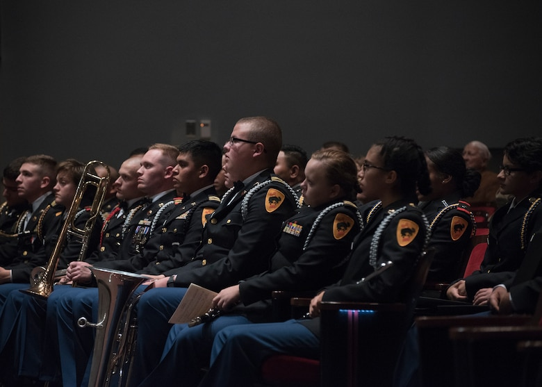 New Mexico Military Institute students listen to the U.S. Air Force Band during a concert at the institute in Roswell, N.M., Oct. 18, 2018. Band performances aim to positively impact the community and inspire patriotism. (U.S. Air Force photo by Senior Airman Abby L. Richardson)