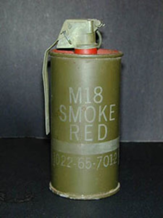 Example of a smoke grenade that may be present on Mohave Maneuver Area C