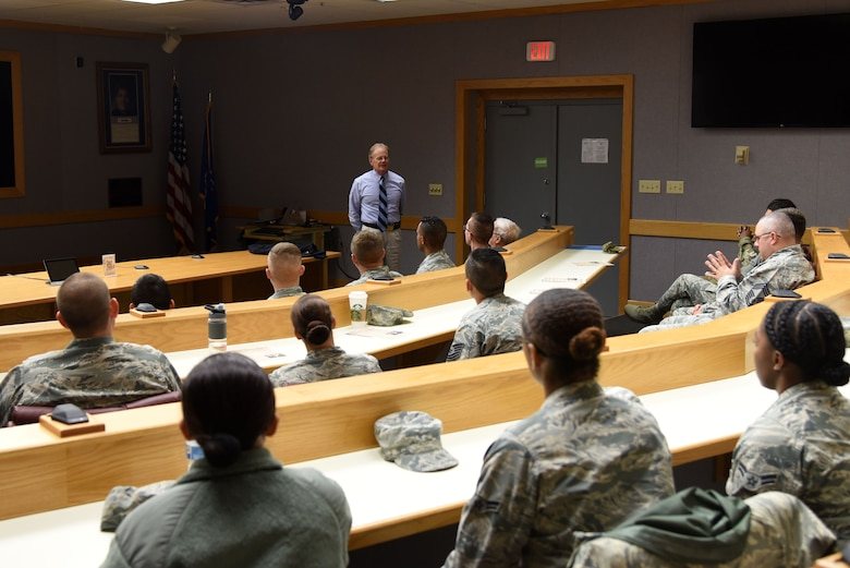 316th Training Squadron Honorary Commander, Theodore Hargrove III, speaks during the 60-year anniversary of intelligence training in the Piper Auditorium at Sebers Hall on Goodfellow Air Force Base, Oct. 19, 2018. Hargrove spoke about the anniversary of the Battle of Yorktown. (U.S. Air Force photo by Staff Sgt. Joshua Edwards/Released)
