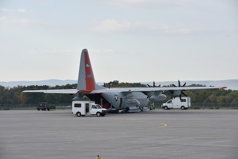 An LC-130 assigned to the New York Air National Guard's 109th Airlift Wing is serviced as it prepares to  leave Stratton Air National Guard Base on Sept. 16 en route to McMurdo Sound, Antarctica.