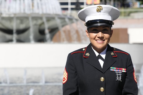 Staff Sgt. Jennie Castillo stands out side of the Kenneth Hahn Hall of Administration after being awarded the County of Los Angeles Commendation in CA, Oct. 16, 2018. Castillo was awarded the County of Los Angeles Commendation by the Board of Supervisors for applying first aid to a high school student, saving his life.