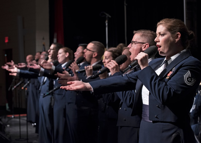 Members of the U.S. Air Force Band's Singing Sergeants perform at the Karen D. Young Memorial Auditorium in Van Horn, Texas, Oct. 20, 2018. The band aims to inspire patriotism and service as well as honor veterans. (U.S. Air Force photo by Senior Airman Abby L. Richardson)