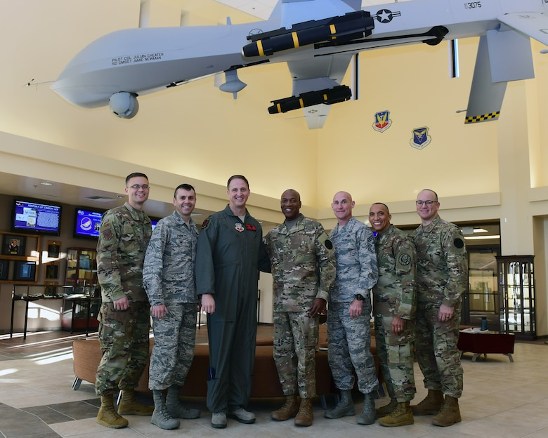 During his first visit to Creech, Wright met with Airmen from various career fields, acted as a sensor operator in an MQ-9 Reaper flight simulator and got an up-close look at the Reaper Remotely Piloted Aircraft.