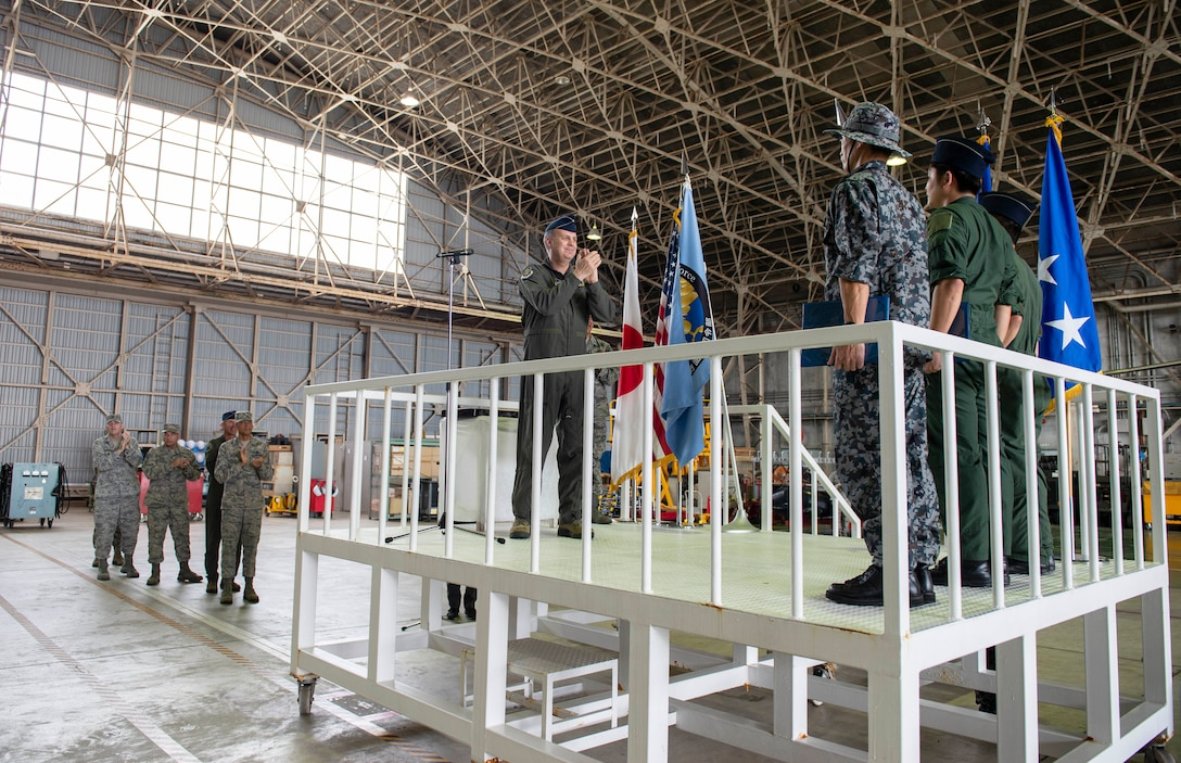 U.S. Forces Japan and 5th Air Force Commander, Lt. Gen. Jerry Martinez visited Naha Air Base, Japan, Oct. 15th, to recognize members of the Naha Air Rescue Squadron, Southwestern Air Defense Force, for their heroic actions.