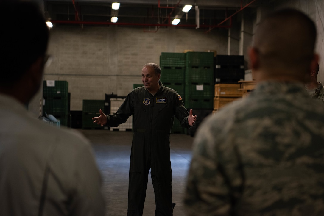 Lt. Gen. Jerry Martinez, U.S. Forces, Japan and 5th Air Force commander, observes the flight line from an air traffic control tower Oct. 16, 2018, at Kadena Air Base, Japan. Martinez visited Kadena Air Base with Chief Master Sgt. Terrence Greene, USFJ and 5th Air Force command chief, to observe the mission and engage the Airmen, spouses, and families of Team Kadena.  (U.S. Air Force photo by Senior Airman Kristan Campbell)