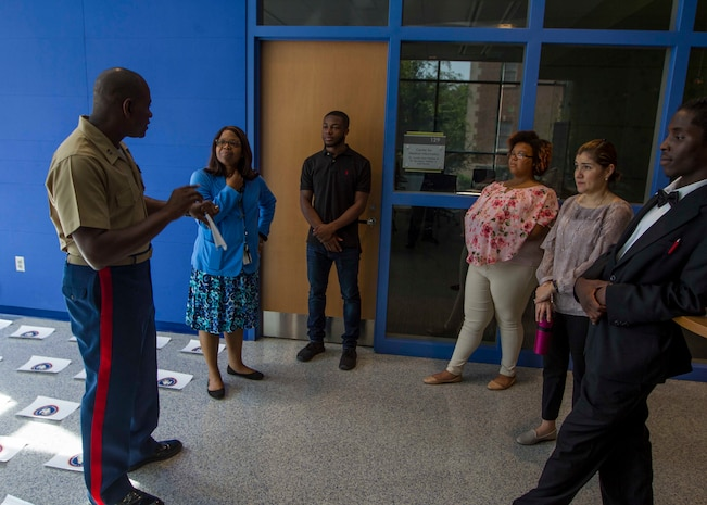 U.S. Marine Corps Capt. Derrick Oliver, the director of Marine Corps Food Service with Headquarters Marine Corps, speaks to students and faculty at Johnson C. Smith University about Marine Corps leadership as part of Marine Week Charlotte, Sept. 5, 2018. Marine Week Charlotte is an opportunity for the people of the greater Charlotte area to meet Marines and learn about the Corps' history, traditions and value to the nation. (U.S. Marine Corps photo by Lance Cpl. Jack A. E. Rigsby)