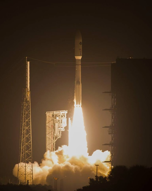 United Launch Alliance's Atlas V Advance Extremely High Frequency Four rocket as it launches from Cape Canaveral Air Force Station, Florida, Oct. 17, 2018 This was the fourth communications satellite in the AEHF series for the U.S. Air Force. (U.S. Air Force photo by Airman 1st Class Dalton Williams)
