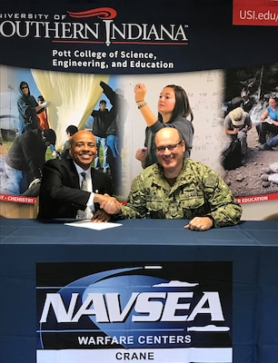 USI President Dr. Ronald Rochon and NSWC Crane Commanding Officer CAPT Mark Oesterreich signed a cooperative research and development agreement (CRADA) in a ceremony on October 22, 2018 hosted at NSWC Crane. The CRADA between NSWC Crane and USI allows both entities to leverage each other's subject matter experts, laboratory space, and high-tech equipment.