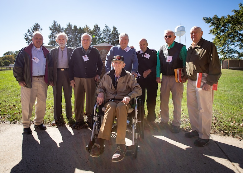 U.S. Marine veterans pose for a photo on Marine Corps Base Quantico, Oct. 18, 2018. The service members got together for the reunion of The Basic School's first special basic class of 1950, some of whom served together in Korea.