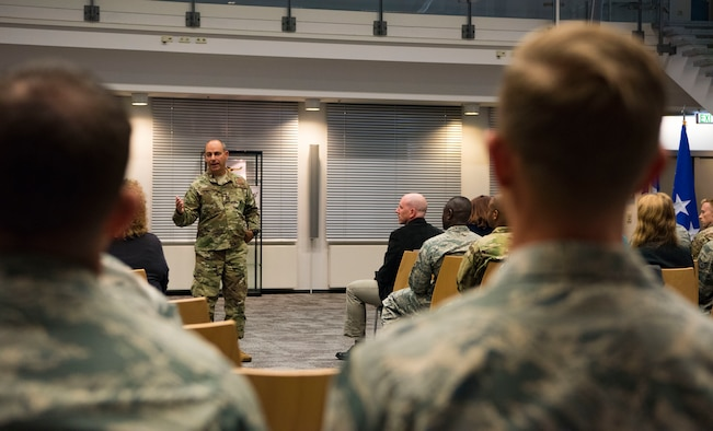 Lt. Gen. Jeffrey L. Harrigian, U.S. Air Forces in Europe and Air Forces Africa deputy commander, speaks 