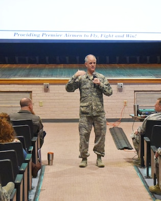 Col. Eric Vitosh, 931st Air Refueling Wing commander, speaks to Reservists and civilians of his unit during an all call here, Oct. 23, 2018, McConnell Air Force Base, Kan.  The all call was held to discuss the recent Unit Effectiveness Inspection, which occurred during the October Unit Training Assembly.