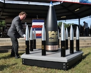 IMAGE: DAHLGREN, Va. (Oct. 19, 2018) – Joseph Fordham, Naval Surface Warfare Center Dahlgren Division Centennial planner, looks at the Dahlgren Centennial time capsule